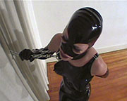 Unstable Anna in latex trying to stays on!